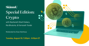 This is a promotional graphic for theSkimm's SkimmU:Crypto event.