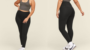 black leggings made from recycled water bottles