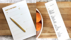 grocery pad to help with meal planning for the week with a tear-away grocery list section
