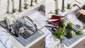 roll out drying rack that can sit over your sink and be put away once dishes are clean and dry