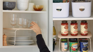 shelf risers for an added lift inside cabinets or pantries