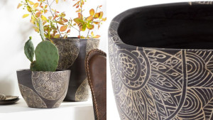 clay planter with intricate design