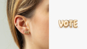 yellow gold vote stud for your ear