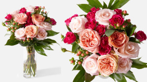 bouquet of pink roses with berries