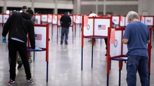 A poll worker at a voting booth in Louisville, Kentucky.