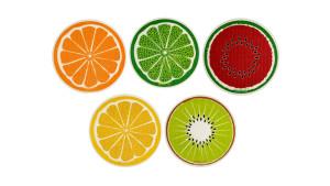 fruit-themed round reusable sponge cloths