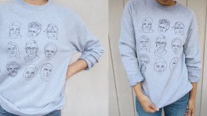 sweatshirt featuring images of famous women in history