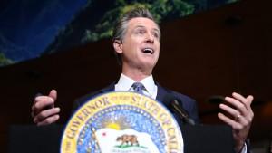 California Gov. Gavin Newsom speaks during a news conference