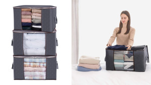 zippered fabric bags to store clothes and towels