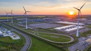 Wind turbines in Saxony, Leipzig.