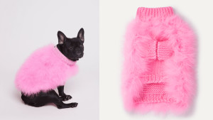 pink fluffy dog coat