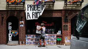 A memorial stands outside of the historic LGBT bar The Stonewall Inn to the victims of the Pulse night club shooting in Manhattan's West Village on June 15, 2020 in New York City.