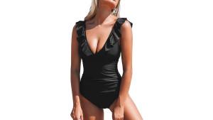 black one-piece bathing suit
