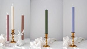 ridged tapered colored candles