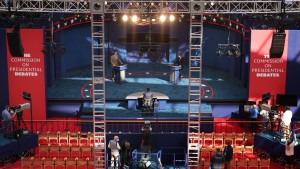 Stand-ins for U.S. President Donald Trump and Democratic presidential nominee Joe Biden participate in a rehearsal for the first presidential debate at Case Western Reserve University and the Cleveland Clinic