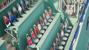 Cardboard cut outs of fans sitting in the Green Monster on Opening Day at Fenway Park
