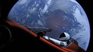 "Tesla roadster launched from the Falcon Heavy rocket with a dummy driver named ""Starman"" heads towards Mars."