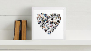 heart-shaped photo collage print