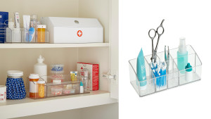 tiny plastic compartments to help organize your medicine cabinet