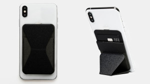 foldable phone stand that is also a card wallet attach to your cellphone chase