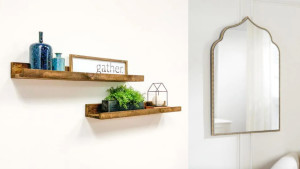 Home Depot wood shelves and arched mirror
