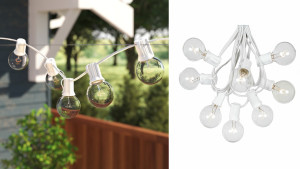 clear globe string lights on a white wire for an outdoor patio, terrace, or deck
