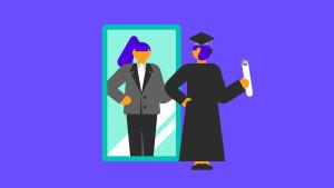 woman looking in mirror with grad school degree