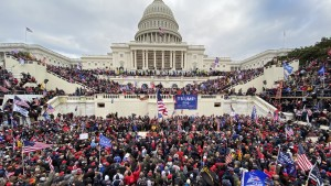 Trumps supporters gather outside the Capitol building in DC on January 06, 2021.