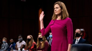 Supreme Court Justice nominee Judge Amy Coney Barrett is sworn in during the Senate Judiciary Committee confirmation hearing for Supreme Court Justice