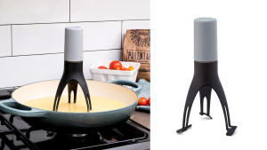 automatic pan stirrer so you don't have to stand over the stove while things are cooking