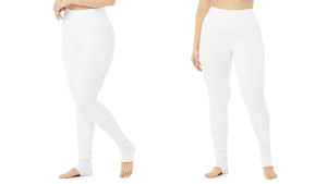 white leggings with scrunched bottoms