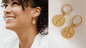 evil eye design gold-plated drop earrings