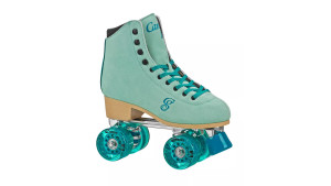light blue suede roller skates with dark blue laces and sparkly wheels