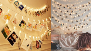 string lights with photo clips