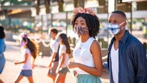 Guests wear masks at Walt Disney World Resort in Florida.
