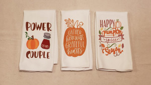 fall-themed funny kitchen towels