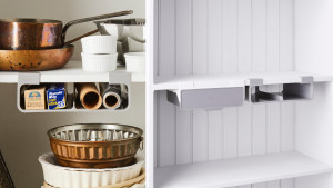 under-shelf storage drawers that attach to shelves without any tools needed