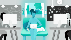 Image of woman working from home against office background