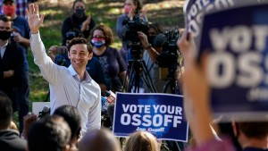 Jon Ossoff holds a campaign event at Grant Park on Friday, Nov. 6, 2020 in Atlanta, GA.