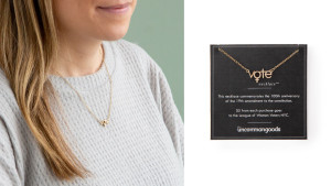 vote necklace honoring women's suffrage