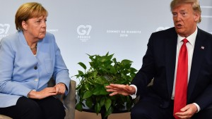 President Trump and German Chancellor Angela Merkel at the G7 summit