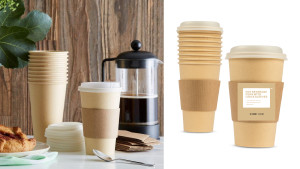 compostable single-use coffee cups with recycled cardboard sleeves
