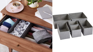 drawer-organizing bins to help with clutter