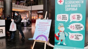 COVID-19 vaccination site at Moscow's Kuntsevo Plaza shopping mall