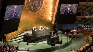 U.S. President Joe Biden speaks during the 76th Session of the United Nations General Assembly