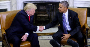 President Obama shaking hands with Donald Trump at the White House