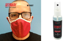 a spray to help glasses from fogging up when wearing face masks