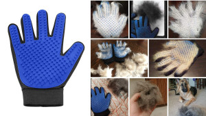 textured brush glove for at-home grooming