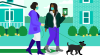 Two women walking a dog with Fidelity app on phone