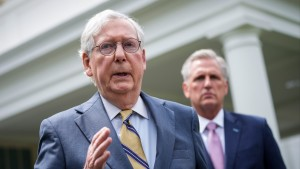 Senate Minority Leader Mitch McConnell (R-KY) outside the White House in May 2021.